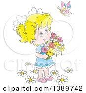 Clipart Of A Cartoon Happy Blond White Girl Holding Flowers And Looking Up At A Butterfly Royalty Free Vector Illustration by Alex Bannykh
