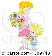 Clipart Of A Cartoon Happy Blond White Girl And Mother Holding Flowers Royalty Free Vector Illustration