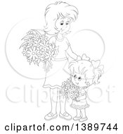 Clipart Of A Cartoon Black And White Lineart Girl And Mother Holding Flowers Royalty Free Vector Illustration