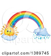 Clipart Of A Happy Sun Character And Rainbow With Rain Royalty Free Vector Illustration
