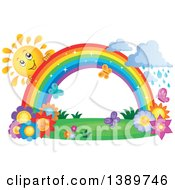 Happy Sun Character Behind A Rainbow Over Flowers With Rain