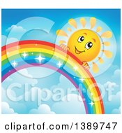 Clipart Of A Happy Sun Character Behind A Rainbow Royalty Free Vector Illustration by visekart