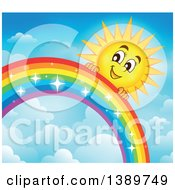 Clipart Of A Happy Sun Character Behind A Rainbow Royalty Free Vector Illustration