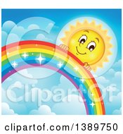 Happy Sun Character Behind A Rainbow