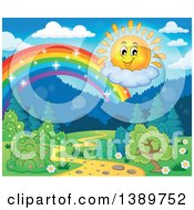 Clipart Of A Happy Sun Character And Rainbow Over A Landscape Royalty Free Vector Illustration