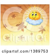 Clipart Of A Happy Sun Character Resting On A Cloud In An Orange Sky With Autumn Leaves Royalty Free Vector Illustration
