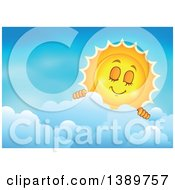 Clipart Of A Happy Sun Character Peeking Over A Cloud In A Blue Sky Royalty Free Vector Illustration