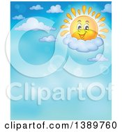 Clipart Of A Happy Sun Character Resting On A Cloud In A Blue Sky Royalty Free Vector Illustration