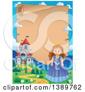 Clipart Of A Fairy Tale Castle And Princess Parchment Scroll Border Royalty Free Vector Illustration