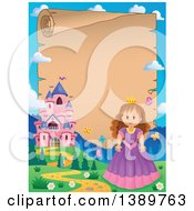 Clipart Of A Fairy Tale Castle And Princess Parchment Scroll Border Royalty Free Vector Illustration by visekart
