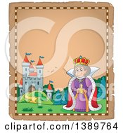 Clipart Of A Happy Queen On An Aged Parchment Page With A Castle And Text Space Royalty Free Vector Illustration