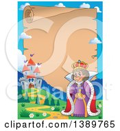Clipart Of A Border Of A Happy Queen An Aged Parchment Page With A Castle And Text Space Royalty Free Vector Illustration