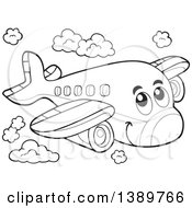 Clipart Of A Black And White Lineart Happy Airplane Character Royalty Free Vector Illustration by visekart