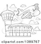 Black And White Lineart Happy Airplane Character Over An Airport