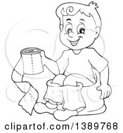 Cartoon Black And White Lineart Boy Sitting On A Potty Training Chair And Holding Toilet Paper