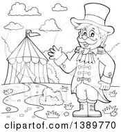 Clipart Of A Black And White Lineart Circus Ringmaster Man Waving Near A Big Top Tent Royalty Free Vector Illustration
