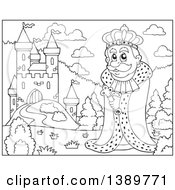 Clipart Of A Black And White Lineart Happy King Near A Castle Royalty Free Vector Illustration
