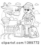 Clipart Of A Black And White Lineart Happy Airplane Character Flying Over A Tourist And Airport Royalty Free Vector Illustration