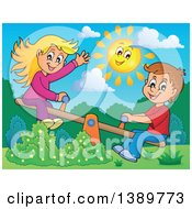 Clipart Of A Happy Sun Over A White Boy And Girl Playing On A See Saw Teeter Totter Royalty Free Vector Illustration by visekart