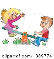 Happy White Boy And Girl Playing On A See Saw Teeter Totter