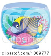 Clipart Of A Marine Fish In A Bowl Royalty Free Vector Illustration