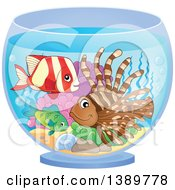 Clipart Of Marine Fish In A Bowl Royalty Free Vector Illustration