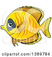 Clipart Of A Yellow Marine Fish Royalty Free Vector Illustration