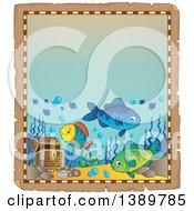 Clipart Of An Aged Parchment Page Border With Marine Fish And Sunken Treasure Royalty Free Vector Illustration