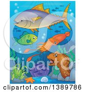 Clipart Of Sea Life Underwater Royalty Free Vector Illustration by visekart