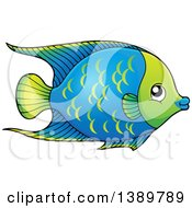 Clipart Of A Blue And Green Fish Royalty Free Vector Illustration