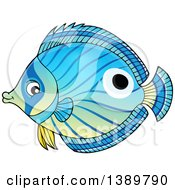 Clipart Of A Blue Marine Fish Royalty Free Vector Illustration
