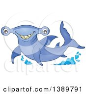 Clipart Of A Happy Hammerhead Shark Royalty Free Vector Illustration