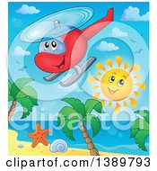 Clipart Of A Cartoon Helicopter And Sun Over A Tropical Beach Royalty Free Vector Illustration
