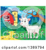 Cartoon Happy White Goat In A Barnyard