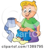 Cartoon Happy Blond White Boy Sitting On A Potty Training Chair And Holding Toilet Paper