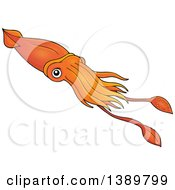 Clipart Of A Cartoon Orange Squid Royalty Free Vector Illustration