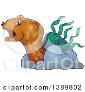 Clipart Of A Brown Eel With Rocks And Sea Weed Royalty Free Vector Illustration