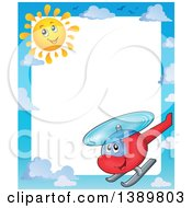 Clipart Of A Sky Cloud Sun And Helicopter Character Border Royalty Free Vector Illustration