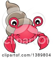 Clipart Of A Cartoon Happy Hermit Crab Royalty Free Vector Illustration by visekart