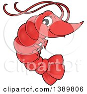 Clipart Of A Cute Happy Shrimp Royalty Free Vector Illustration by visekart