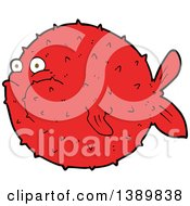 Clipart Of A Red Puffer Blow Fish Royalty Free Vector Illustration by lineartestpilot