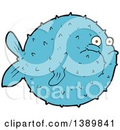 Clipart Of A Blue Puffer Blow Fish Royalty Free Vector Illustration by lineartestpilot