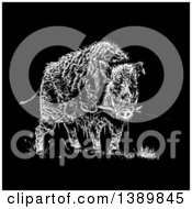 Clipart Of A Black And White Wild Boar Pig Biting A Sword On Black Royalty Free Vector Illustration by lineartestpilot
