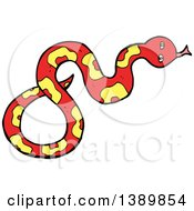 Clipart Of A Cartoon Red Snake Royalty Free Vector Illustration