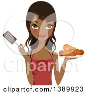 Pretty African American Chef Woman Holding A Plate Of Fried Chicken And A Spatula
