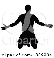 Clipart Of A Black Silhouetted Male Soccer Player Kneeling Or Jumping Royalty Free Vector Illustration