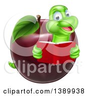 Cartoon Happy Green Book Worm Reading And Emerging From A Red Apple