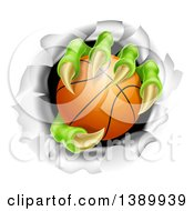 Clipart Of Monster Claws Holding A Basketball And Ripping Through A Wall Royalty Free Vector Illustration