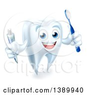 Clipart Of A 3d Happy White Tooth Character Smiling Holding A Toothbrush And Tube Of Toothpaste Royalty Free Vector Illustration