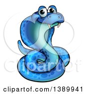 Clipart Of A Cartoon Happy Blue Coiled Cobra Snake Royalty Free Vector Illustration by AtStockIllustration